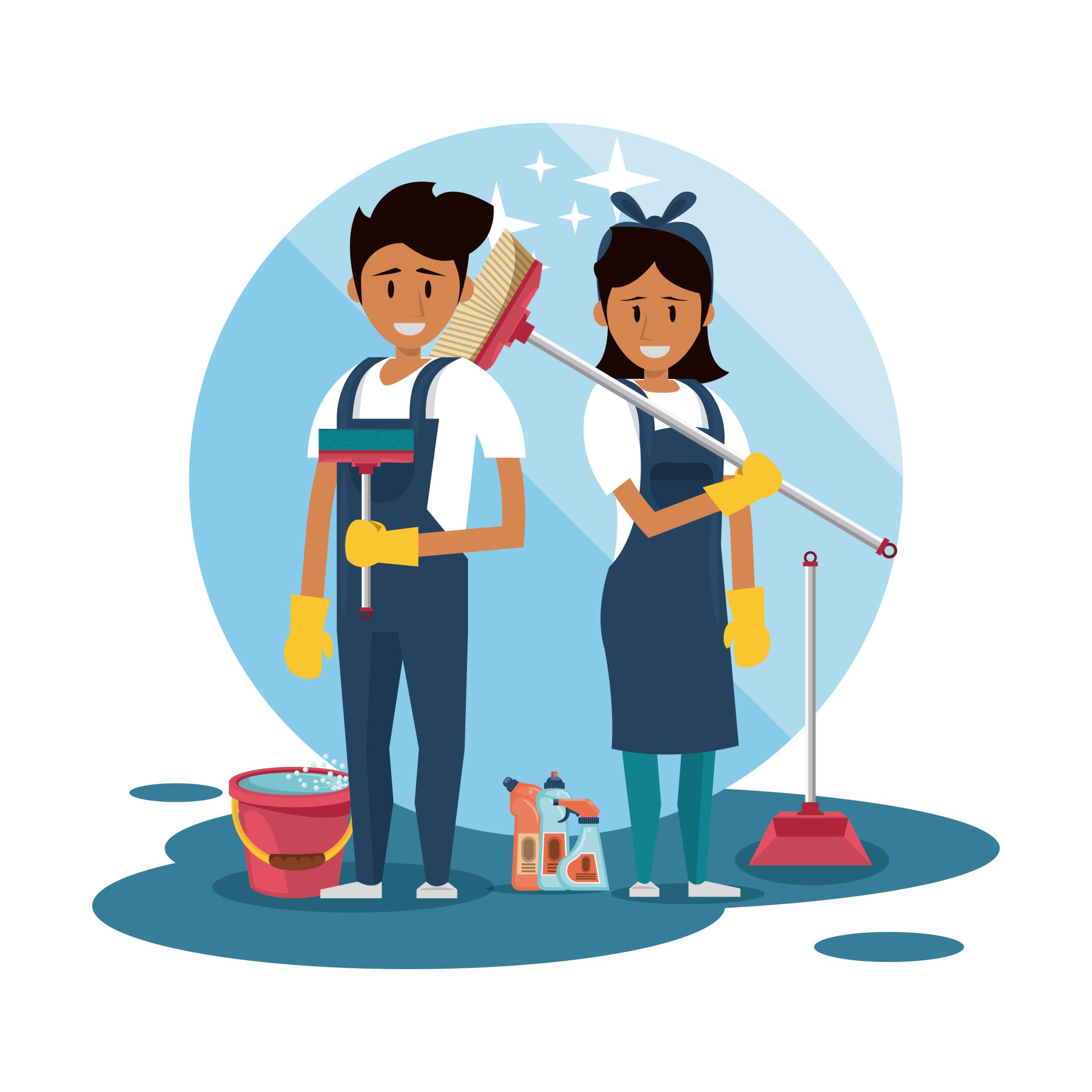illustration équipe de nettoyage